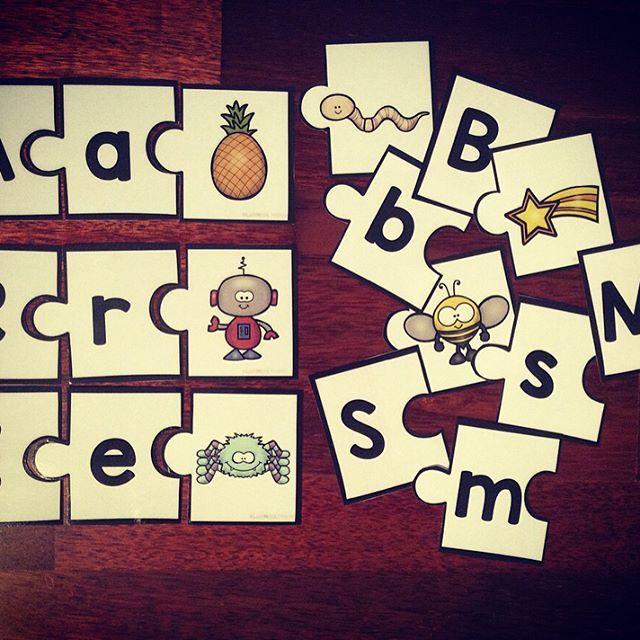 Puslekort, en morsom måte å jobbe med bokstavene på! #laermedlyngmo #puslekort #bokstavinnlæring #alfabetet #1klasse #lærerlivet #tpt