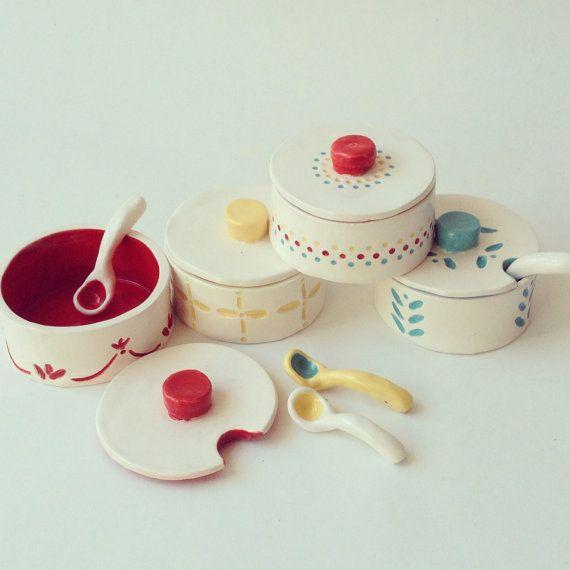 Heirloom SALT & SPICE BINS - Kitchen Decor, Ceramic, Charming, Nordic, Ethnic, Scandinavian, Tableware, Scoop, Crock, Container, Jar, Holder...