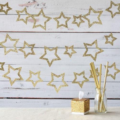 Celebrate the night sky with this glistening mini glitter stars baby shower garland.