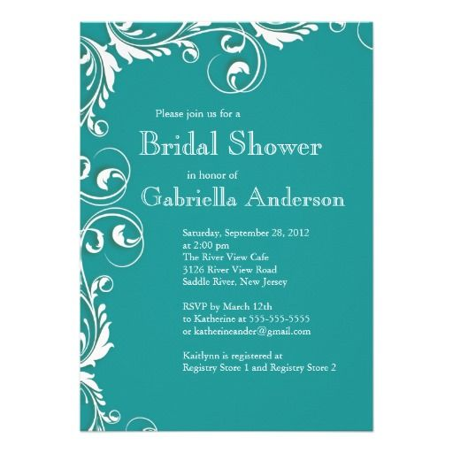 Modern Elegance Turquoise Bridal Shower Invitation