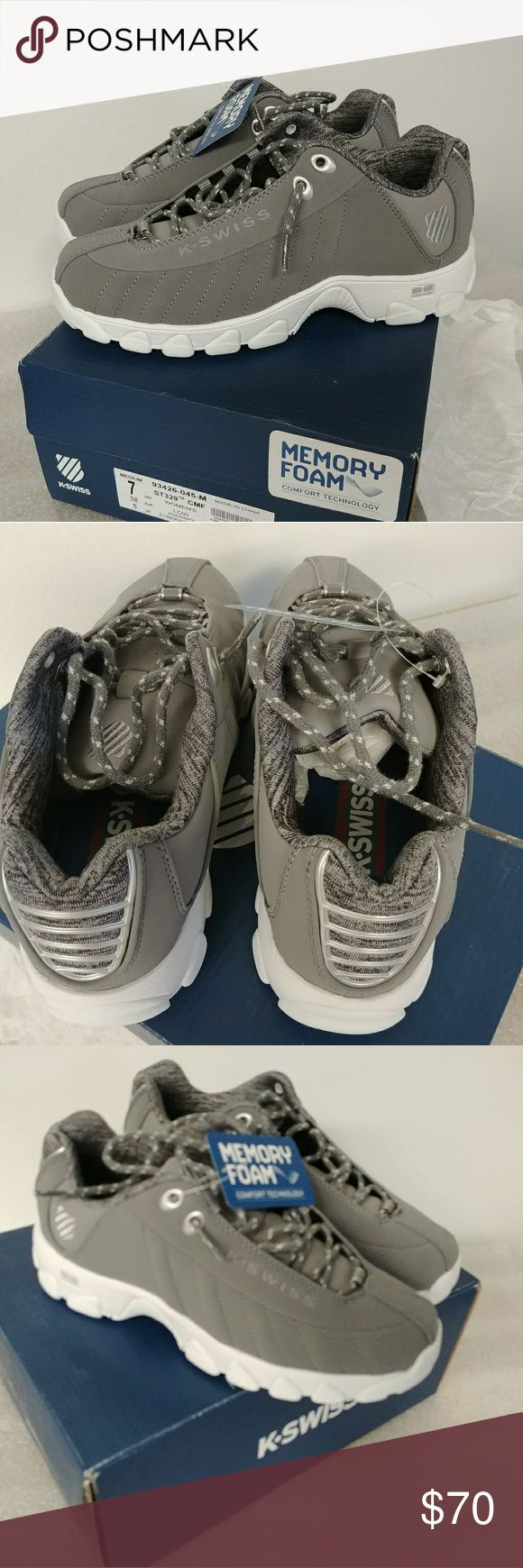 K-Swiss shoes women's size 7 gray Grey Brand new Women's USA size 7 Stored in smoke free facility I ship same or next day depending when you buy K-Swiss Shoes Sneakers