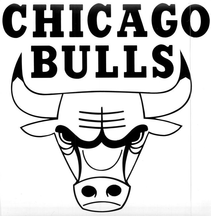 chicago bulls logo black and white