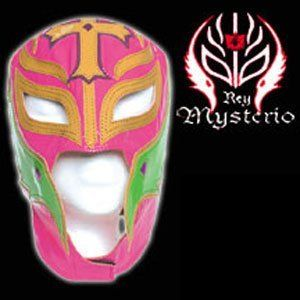WWE REY MYSTERIO KIDS Pink LEATHER Mask by Figures Toy Company. $29.99. WWE SUPERSTAR REY MYSTERIO KIDS SIZE PALE RED PRO-GRADE MASK   Series 1 WWE Rey Mysterio KIDS Size Replica Mask   Officially licensed by WWE   Made directly from Rey Mysterio's own mask   Fits most kids ages 8 & up (Simulated Leather). Save 40% Off!