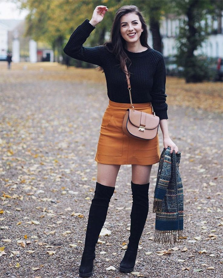 Inspiring skirt and boots combinations for fall and winter outfits 57 #bootsfall