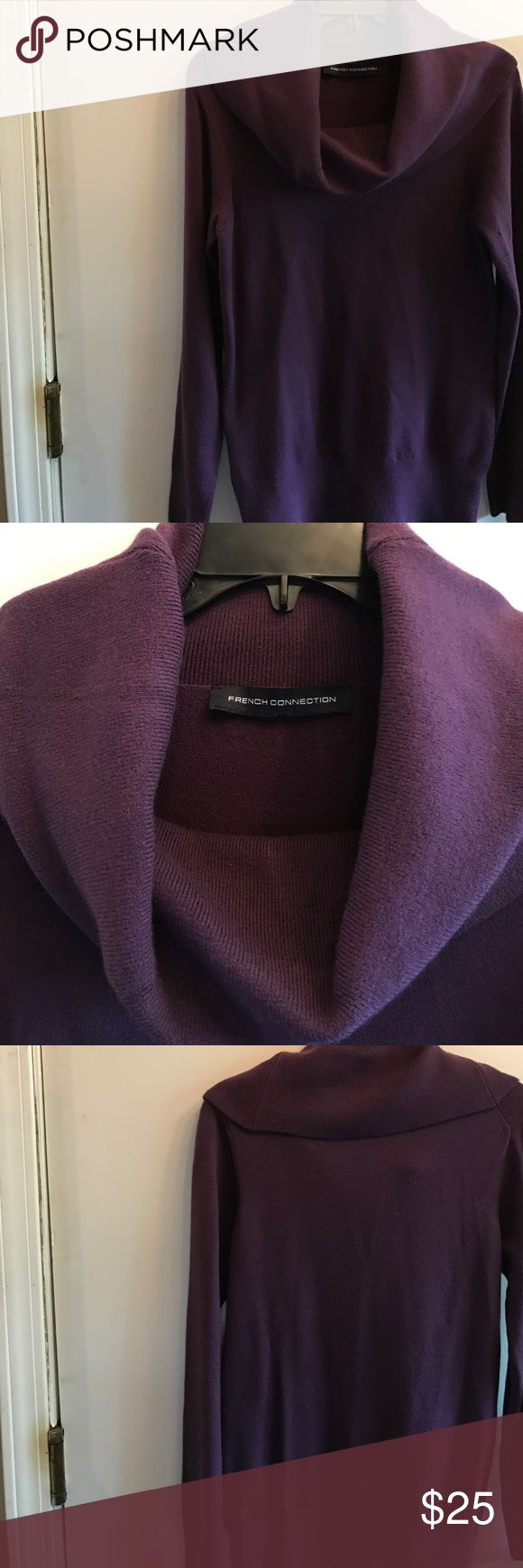 "FRENCH Connection Deep purple cowl neck sweater FRENCH Connection Deep purple cowl neck sweater . Super soft and warm. Sz  Lg 34"" bust measurement. purple is flattering for any skin tone. Great with leggings. Jeans. Boots, flats or heels. acrylic blend Machine washable. Excellent condition worn once. Check my closet for other similar items. No trades. French Connection Sweaters Cowl & Turtlenecks"