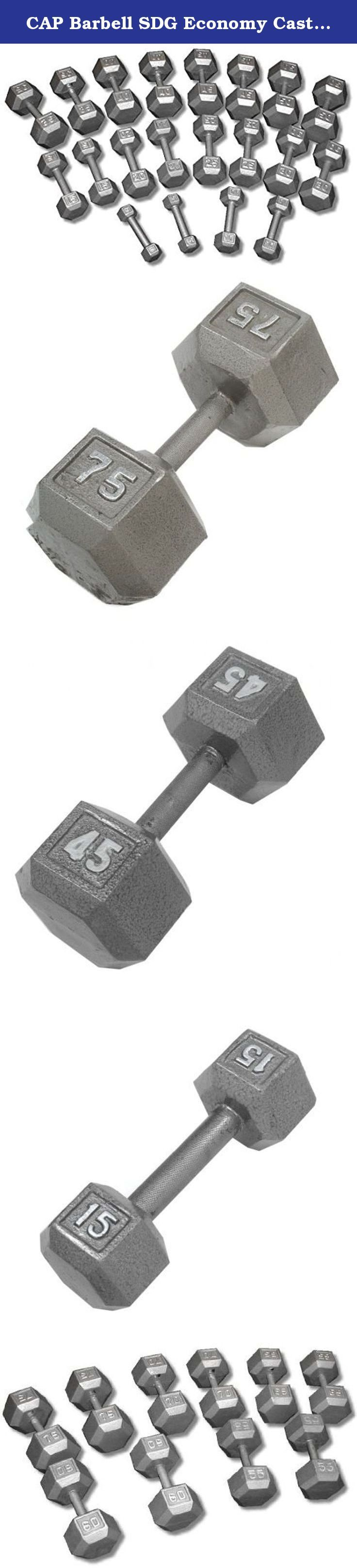 CAP Barbell SDG Economy Cast Iron Hex Dumbbell Set - 5 to 100 lbs (20 pairs) - Garage Gym Weight Set. Economy Cast Iron Hex Dumbbell Sets from CAP Barbell - Hex dumbbell sets are often the perfect dumbbell choice for home gym and garage gym use. They are economical and space efficient and for a lot of people that is the most important criteria when purchasing dumbbells for home use. Hexagonal dumbbell heads are non-rolling when set down on the floor or racks. Cast iron heads increase in…