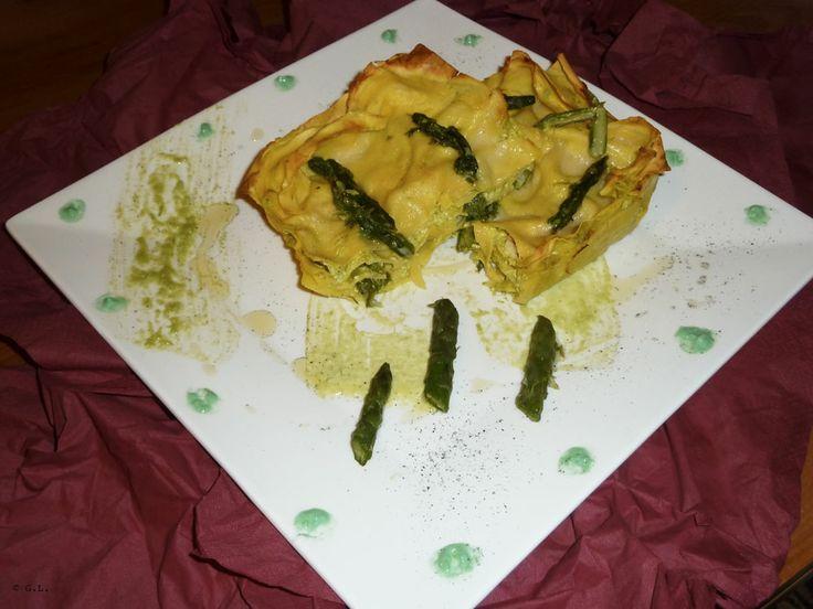 lasagne gamberi e asparagi