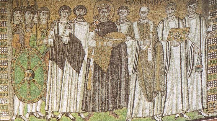 L'imperatore Giustiniano ed il suo seguito. Ravenna, chiesa di San Vitale, metà VI sec