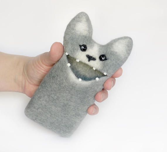 Grey Cat iphone 7 case  felted iPhone 7 case felt by EthicStyle