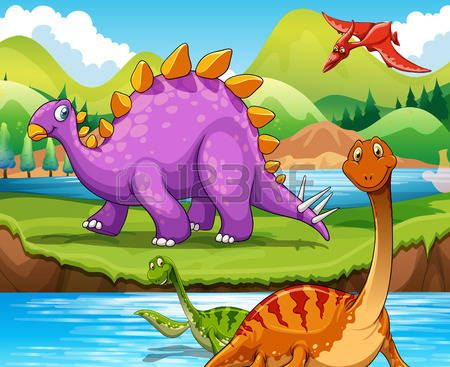 Dinosaurs living by the river illustration Vector