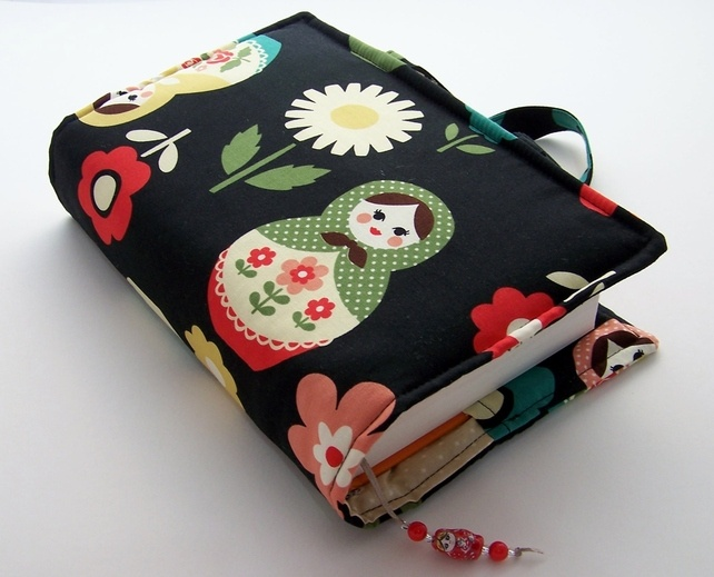 Russian Matryoshka Dark - Book Cover Bag - Size 2 by Whimsy Woo Designs