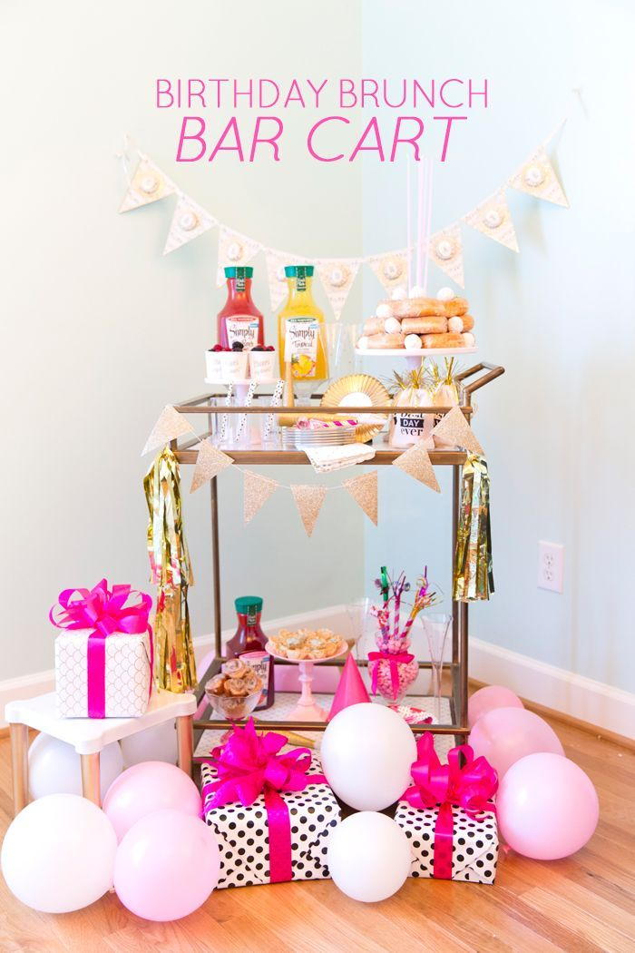 Birthday Brunch Bar Cart Party! #simplyjuicedrinks #ad