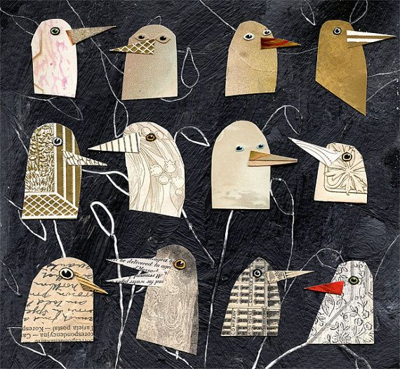 birds I have known 1, birds, bird heads, gold birds, mixed media birds, mixed…