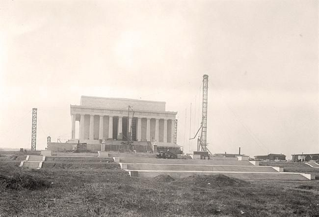 Taken during the construction of the Lincoln Memorial in Washington D.C. - 1916 by Harris & Ewing