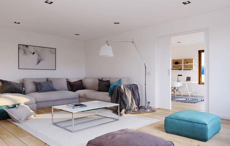 Multifunskjonelle rom i første etasje. Flott til tv-stue. Moderne hus, eneboliger, funksjonell bolig, ferdighus, stue, kjøkken