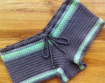Crochet shorts Gray shorts Stretch shorts Knit shorts crochet beach shorts summe…