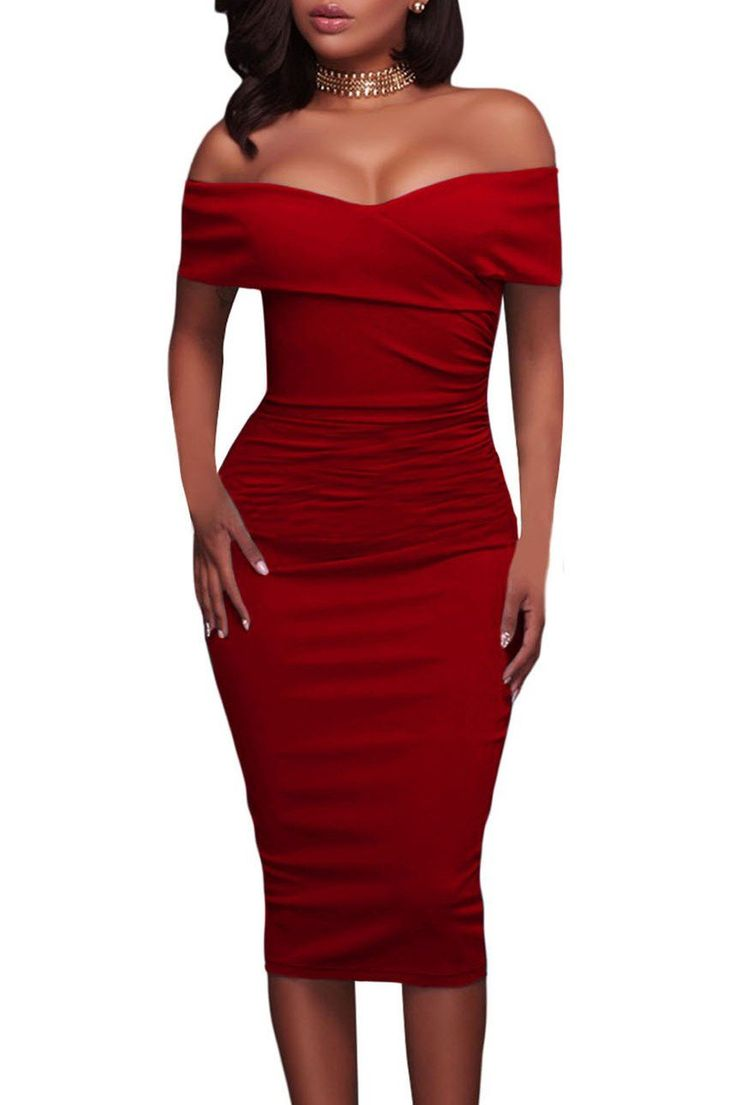 Robe Ceremonie Mi Longue Rouge Ruche Col Bardot Moulante Pas Cher www.modebuy.com @Modebuy #Modebuy #Rouge #occasion #style #styles #party