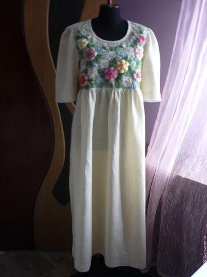 Купить или заказать Платье,ручная вышивка'Чайная роза' Татьяна в интернет-магазине на Ярмарке Мастеров. Ручная вышивка,Лён,кружева хлопок,разнообразные нитки для вышивки.