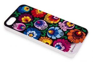 Etui na iPhone 5 - czarne w kwiaty folk