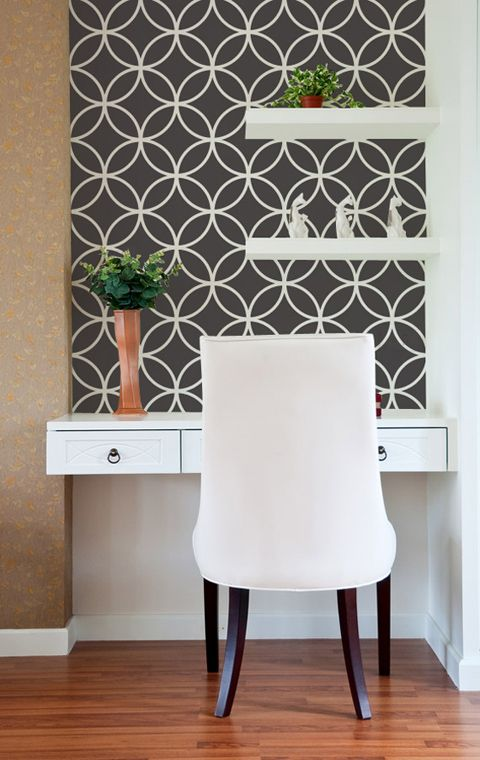 Paint these interlocking circles on a modern feature wall with tone-on-tone or contrasting color palettes. Our popular Endless Circles Lattice Moroccan Stencil is featured in many different rooms and