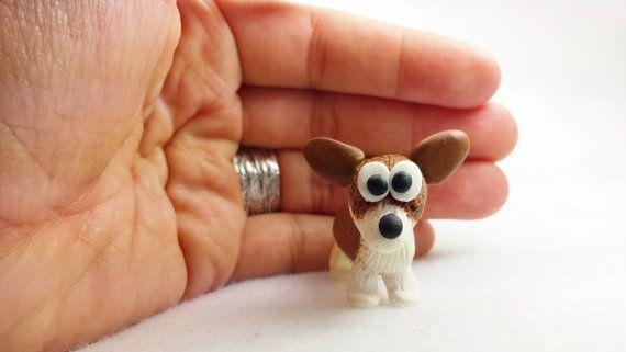Polymer clay handmade miniature corgi figurine miniature by OhClay