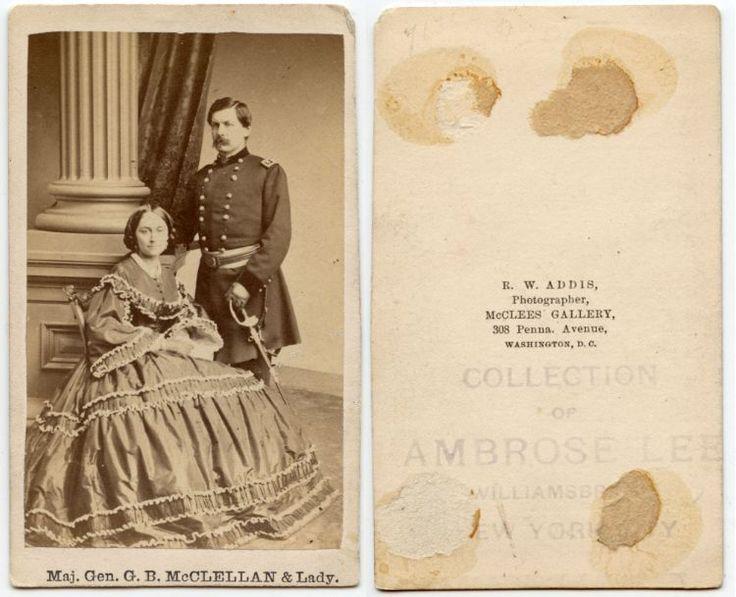 CIVIL WAR MAJOR GENERAL GEORGE B MCCLELLAN BY ADDIS, WASHINGTON DC, ANTIQUE CDV