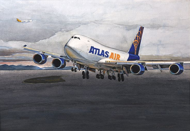 """Fire Island Approach"" - original watercolor by Bob Thompson.  This commissioned painting depicts an Atlas Air 747-8 passing Fire Island, on approach to Anchorage.  Limited edition prints are available. 20% discount for Atlas Air employees and their families on giclée (paper) prints."