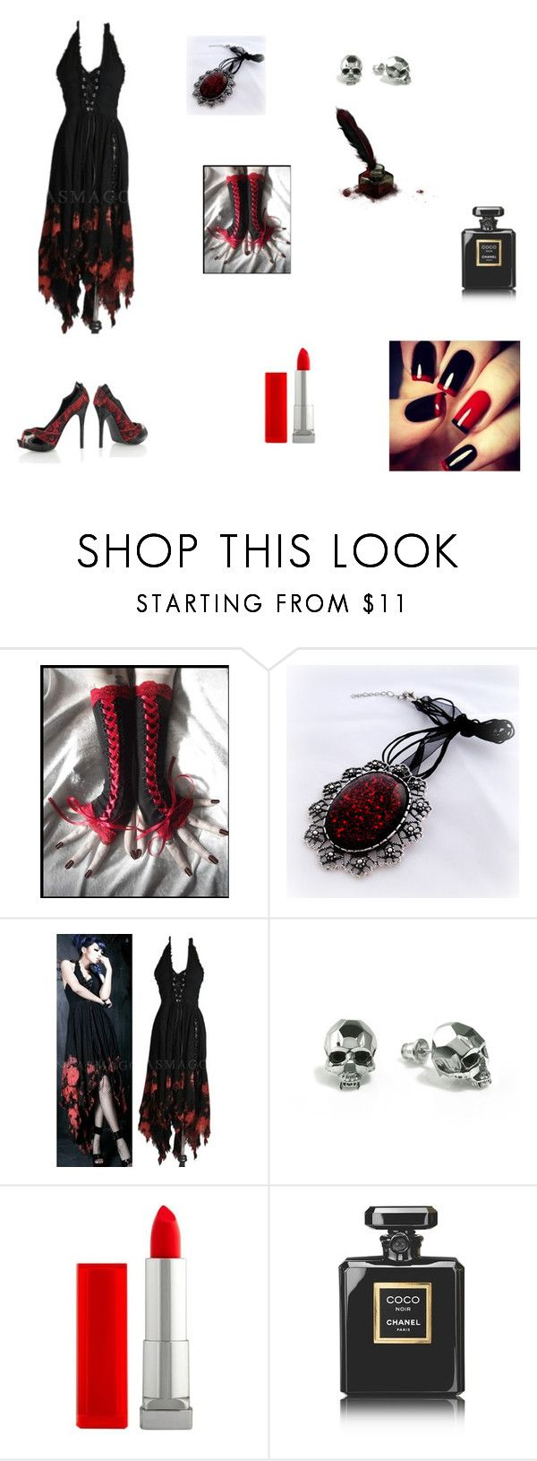 """""""vampire outfit 1"""" by talie808 ❤ liked on Polyvore featuring moda, Kasun, Maybelline y Chanel"""