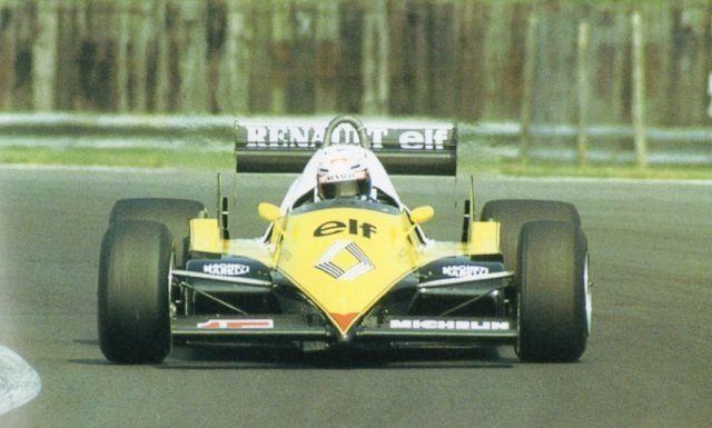 Alain Prost winning the 1983 British Grand Prix with Renault #F1