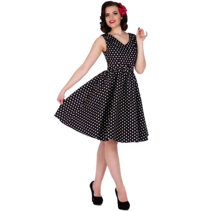 Wendy Retro Polka Dot Rockabilly Dress in Black
