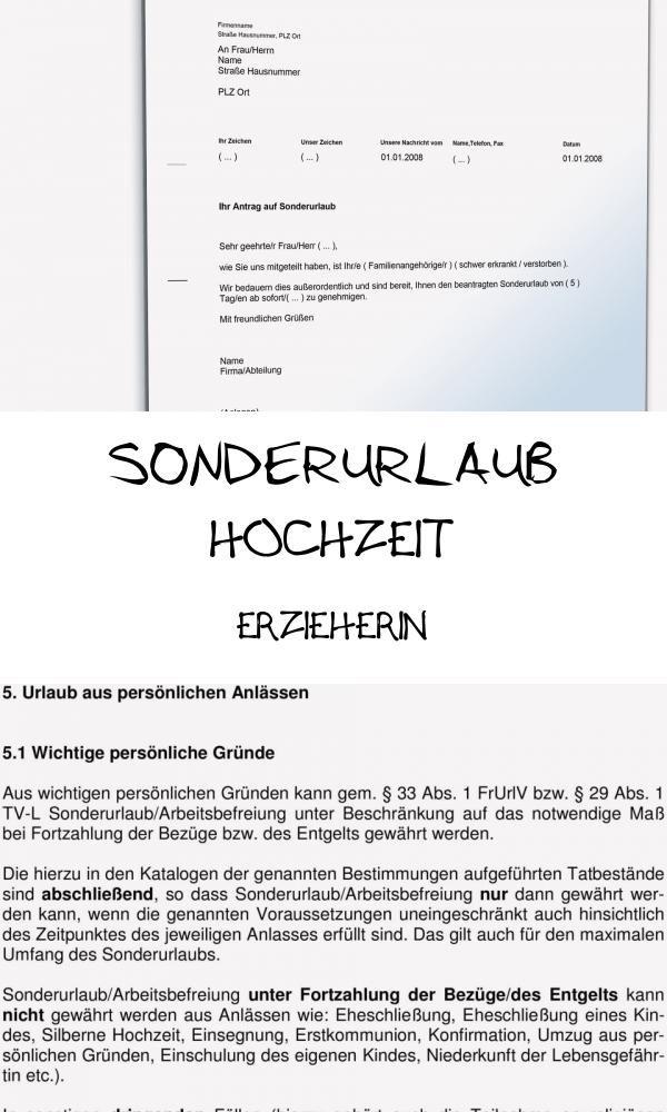 Good 13 Sonderurlaub Hochzeit Erzieherin Di 2020
