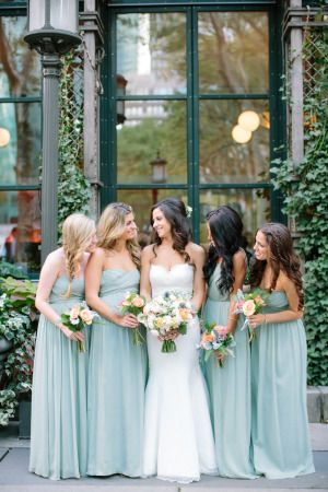 Dusty blue perfection: http://www.stylemepretty.com/2014/10/27/nyc-summer-garden-wedding-in-bryant-park/ | Photography: Caroline Frost - http://carolinefrostphotography.com/