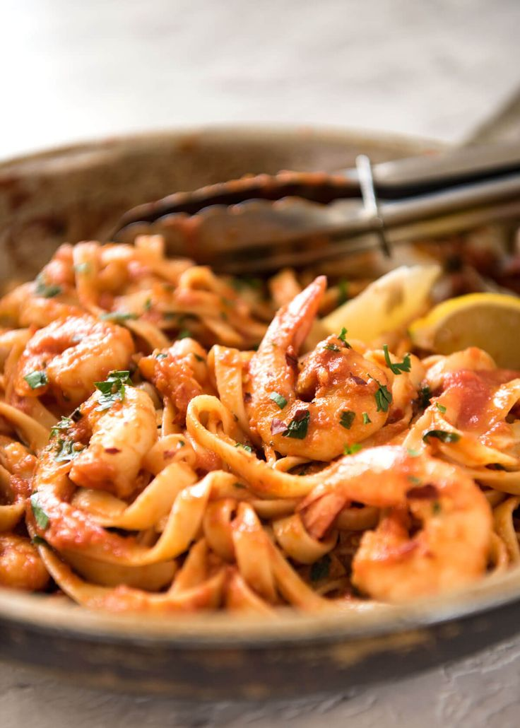 "This Spicy Chilli Prawn Pasta is tossed in a tomato sauce with a secret ingredient that makes this a 15 minute ""wow"" dinner!"