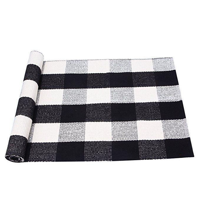 Pragoo Black White Cotton Rug Plaid Checkered Area Rug Braided Kitchen Rug Runner Washable Mat Floor Carpet 60x180cm Cotton Rug Plaid Rug Living Room Area Rugs