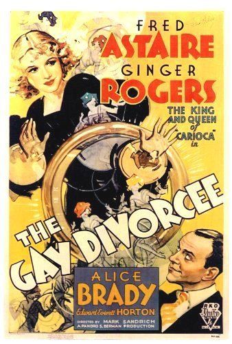 MUSICALS:  THE GAY DIVORCEE  Directed by Mark Sandrich.  With Fred Astaire, Ginger Rogers, Alice Brady, Edward Everett Horton. Mimi Glossop wants a divorce so her Aunt Hortense hires a professional to play the correspondent in apparent infidelity. American dancer Guy Holden meets Mimi while visiting Brightbourne (Brighton) and she thinks he is the correspondent. The plot is really an excuse for song and dance.