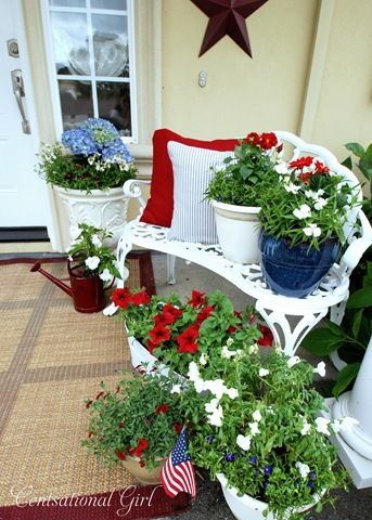 Memorial Day & 4th of July: Blue Flowers, Summer Porches, Patriots Decor, Red White Blue, Flowers Pots, Patriots Porches, 4Th Of July, Front Porches,  Flowerpot
