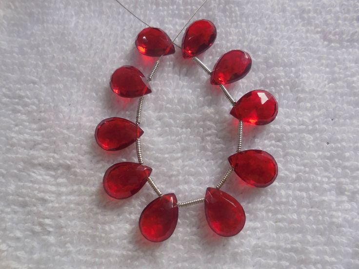 10Psc Faceted Red Quartz Briolette,Hydro quartz Side Drilled Pear Beads,Jewellry making Beads Size 8x11MM by InternationalByBeads on Etsy