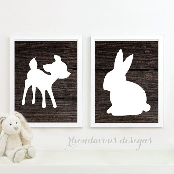 *** You Pick the Size! *** Please select upon check out!    This is a two-print set, featuring the silhouette of a deer and rabbit on a dark