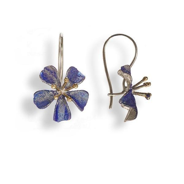 Handmade Silver Lavender-Silver Drop Earrings - Anthos Crafts - 1