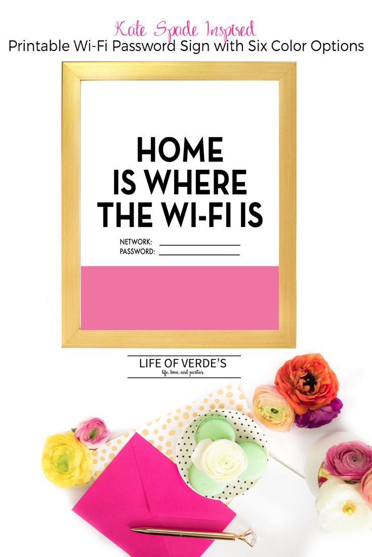 Kate Spade inspired Printable Wi-Fi Password Sign from Life Of Verde's (Six Color Options!)