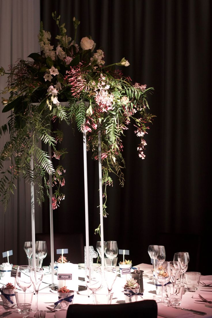 Whimsical Foilage and Floral Centerpiece on Floral Stand