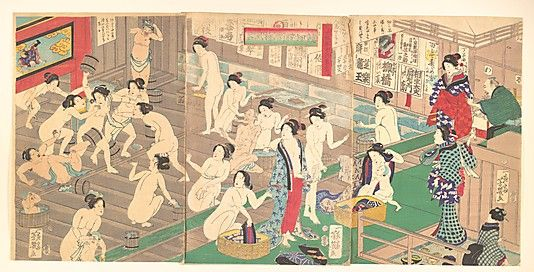 """Like ancient Rome, public baths in Japan are an integral part of the culture. Called onsen, public baths could be either municipal or private spaces. These woodblock prints depict a scene in a 19th century bathhouse, occupied by women."""