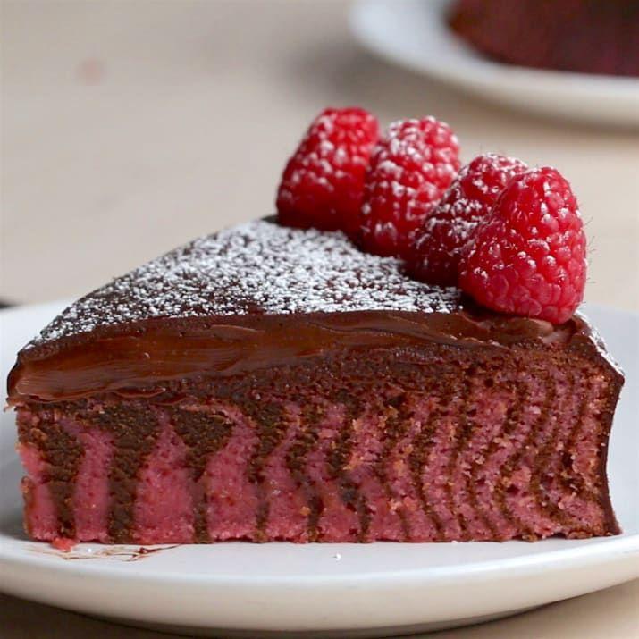 Chocolate Raspberry Zebra Cake