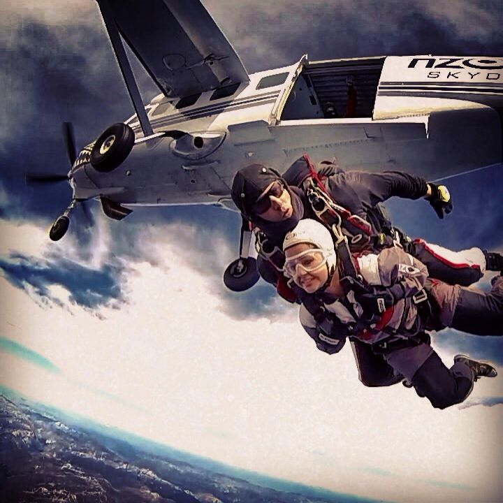 INDIAN CRICKET - Mrs Sakshi Dhoni - just after Exiting 15,000ft over Queenstown - with NZONE Skydive.