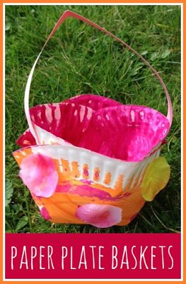 How to make spring themed paper plate baskets for Easter