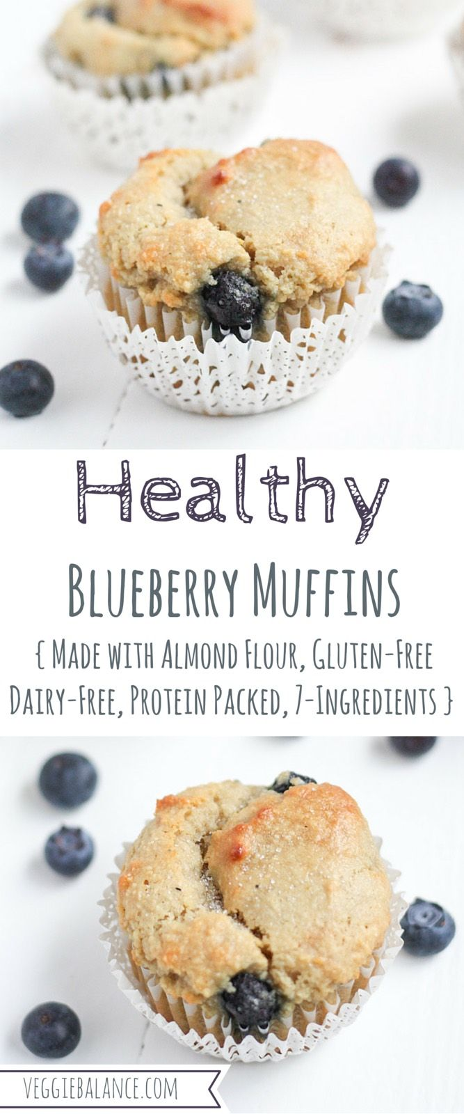 Gluten Free Blueberry Muffins. Just 7-Ingredients, refined sugar-free, dairy-free, and low-sugar.