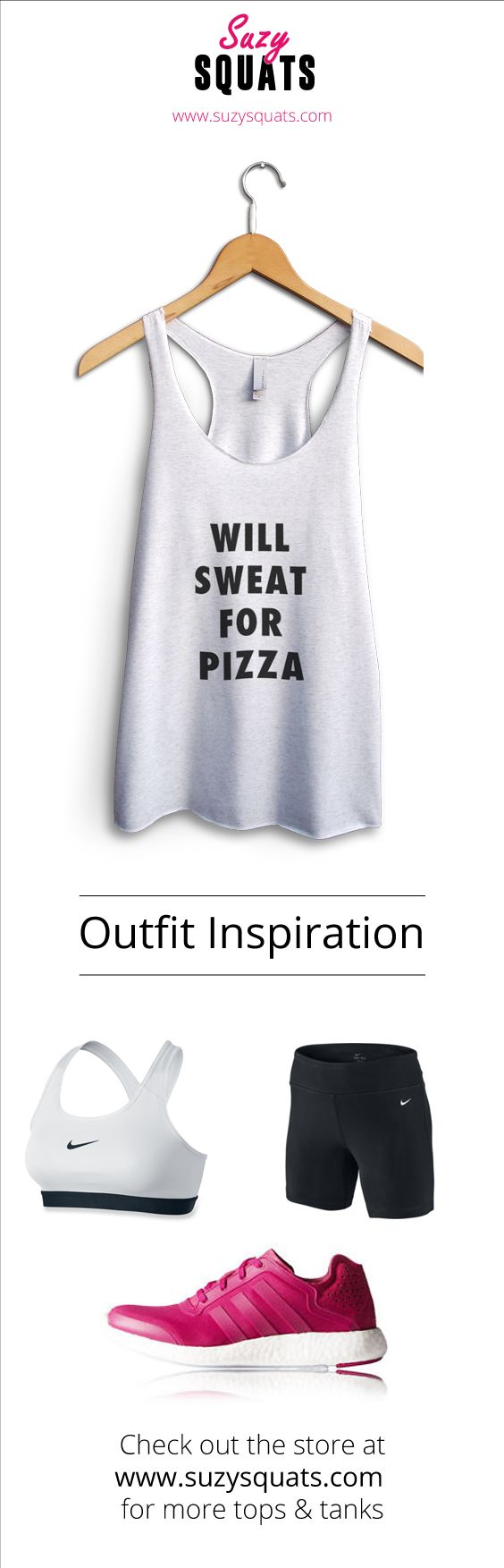 Suzy Squats funny workout tank top for pizza lovers! Perfect if you love the gym but can't get enough of pizza. You can find more funny workout clothing at the Suzy Squats store by clicking the link above. Pizza | Fitness Quote | Workout Clothes | Fitness Women | FoodieSuzy