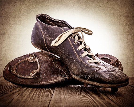 ON SALE Vintage Football Cleats Photo Print, Decorating Ideas, Wall Decor, Wall Art,  Kids Room, Rustic Decor, Vintage Sports, Man Cave, on Etsy, $20.00