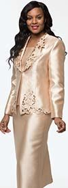 Moshita 7226-Champagne - Womens Church Suit With Cut-Out Embroidery