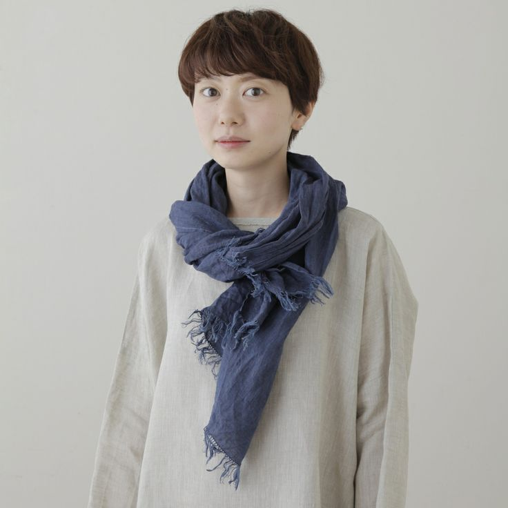 shop fog linen — Roserie Scarf: Blue De Chine